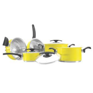 Conjunto De Panelas Tramontina Duo Color Amarela 5 Peças - 65380018