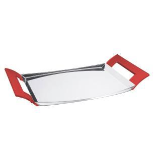 Bandeja De Aço Inox Tramontina Com Alças De Acrílico Vermelho - 61760476