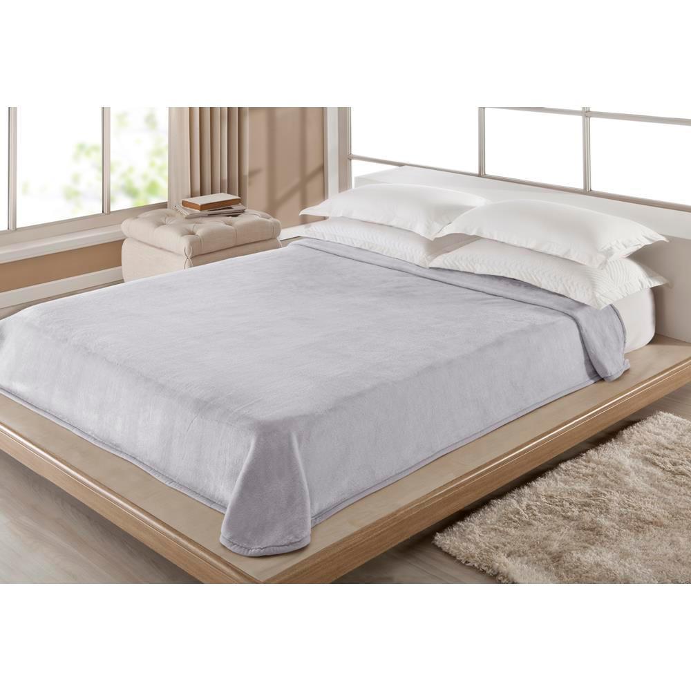 Cobertor Casal Liso Cinza 1,80 X 2,20 M Corttex