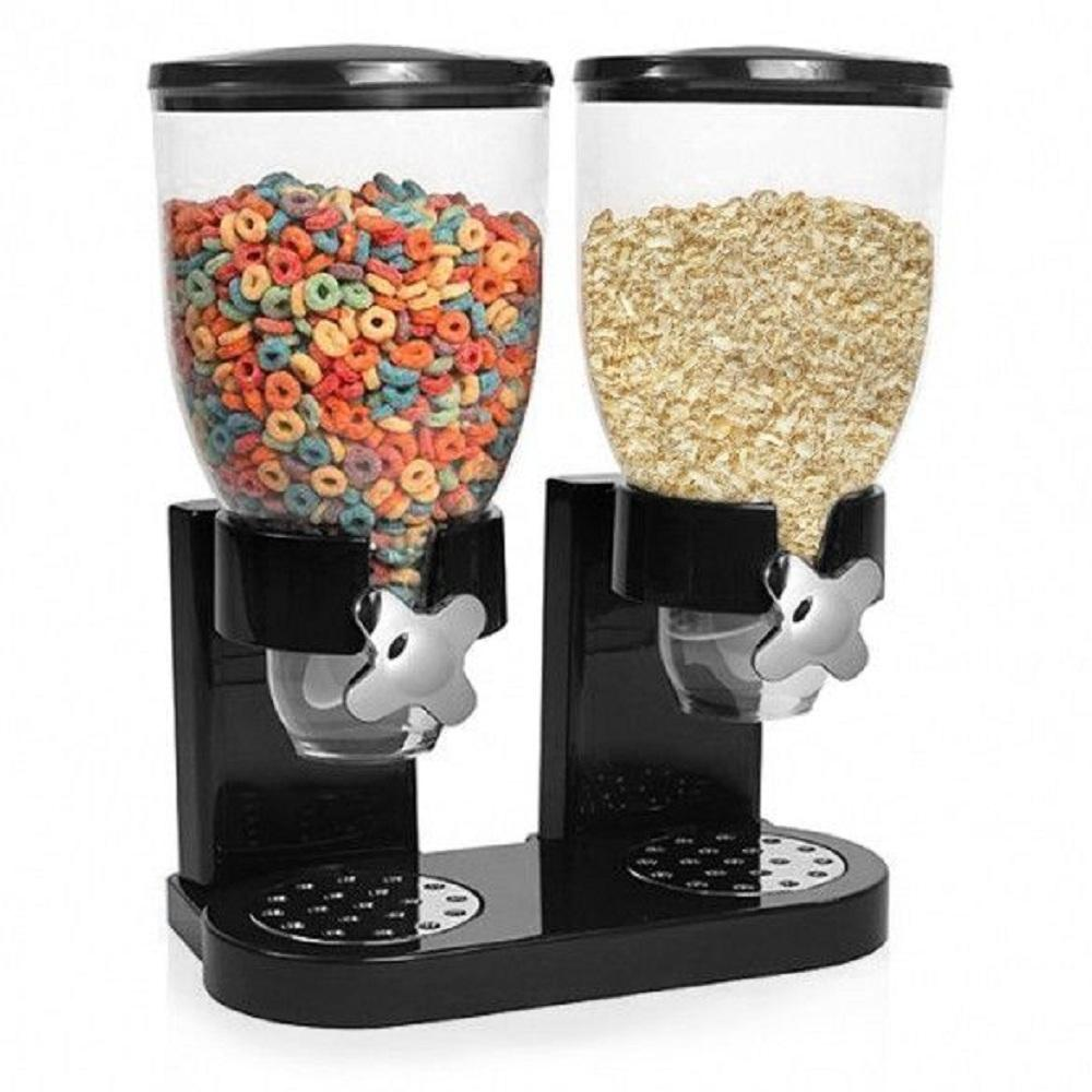 Dispenser Duplo Para Cereal Preto Basic Kitchen