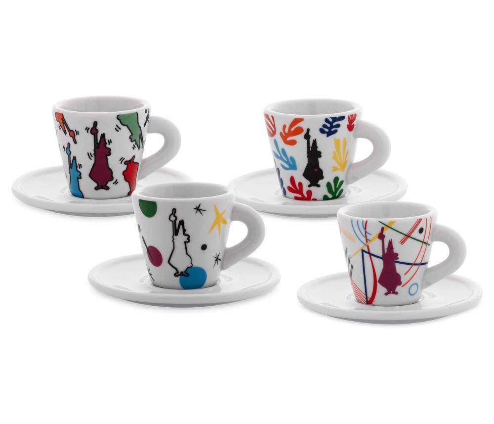 Set 4 Xícaras Espresso Com Pires Porcelana Arte 45ml Bialetti