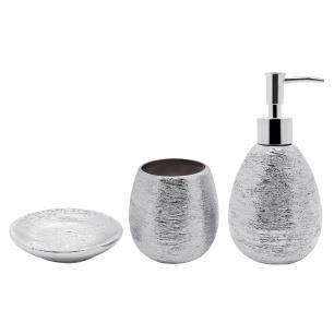 Conjunto 3 Peças Banheiro Lunar Prata Bh1779p Mimo