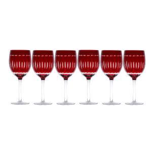 Conjunto 6 Taças Para água Vidro Vermelha 460ml Lyor