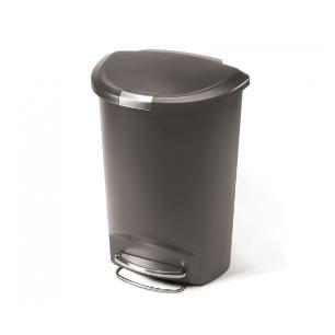 Lixeira Semi Round Plástica Cinza 50L Simple Human - Sh144Cz