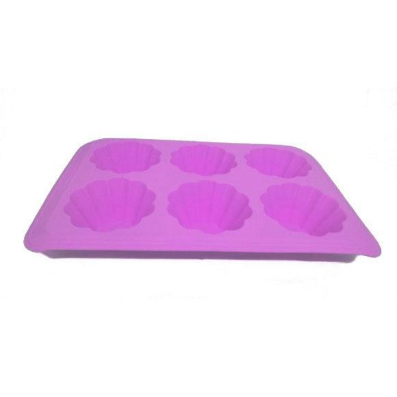 Forma Silicone Com 6 Furos 30X19X4Cm Roxo Basic Kitchen