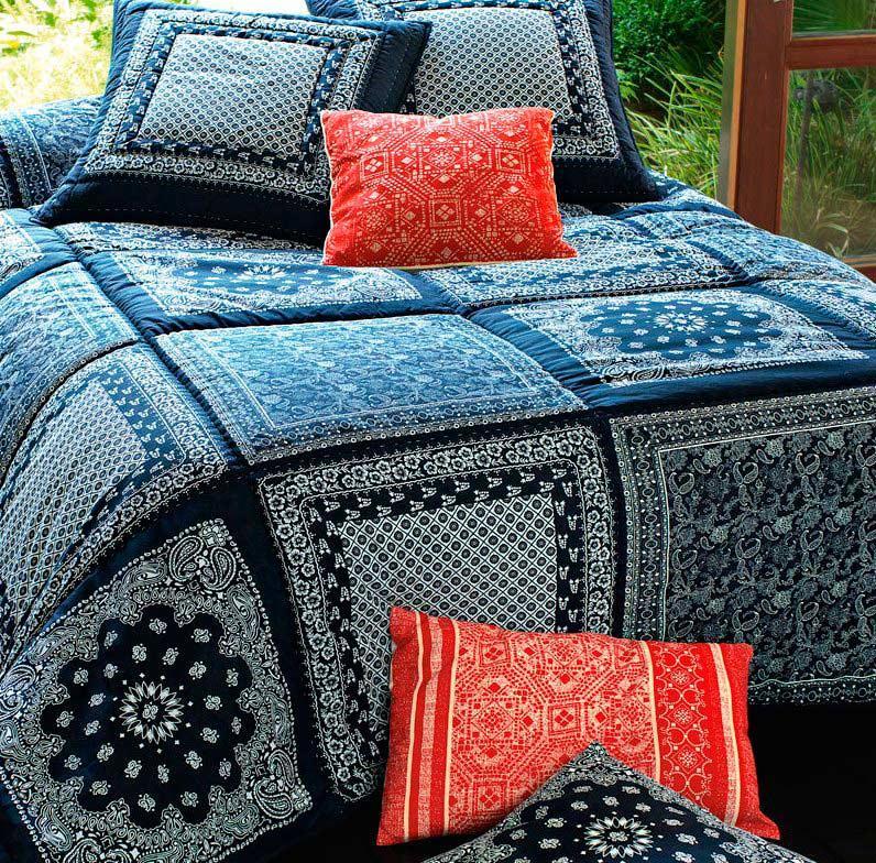 Colcha Patchwork Forever Azul Em Microfibra Casal Com 02 Porta Travesseiros - 5829