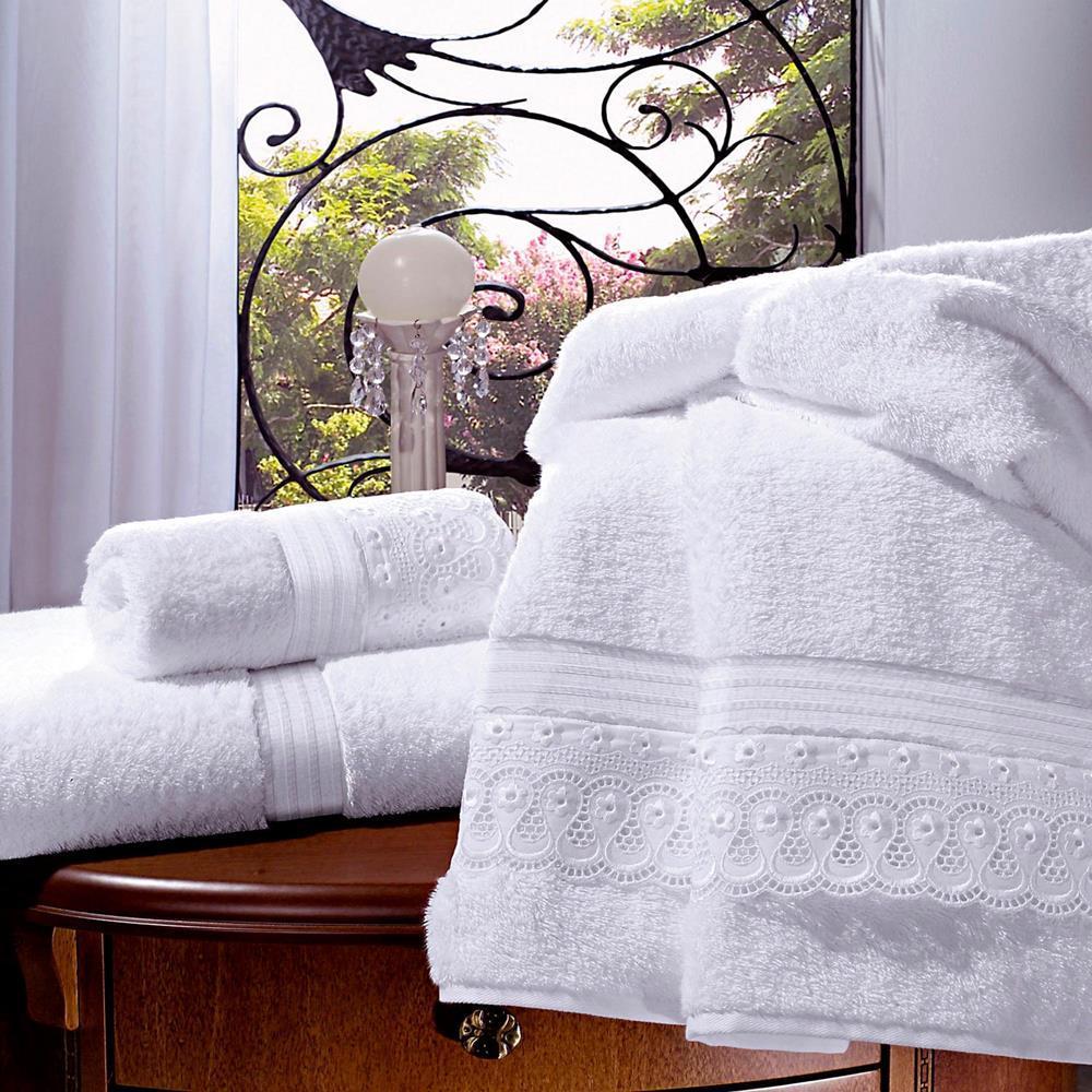 Toalha De Banho 100% Algodão Com Bordado Inglês 80X150Cm - Branco - 43190