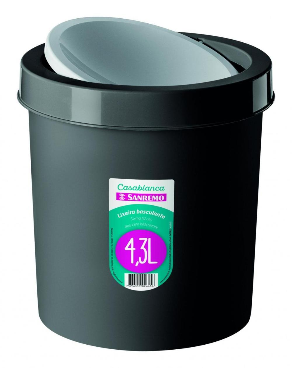 Lixeira Basculante Plástico 4,3l Preto Sanremo
