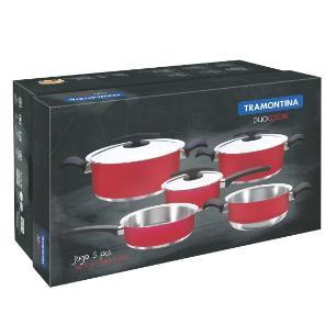 Conjunto De Panelas Tramontina Duo Color Vermelha 5 Peças - 65380016