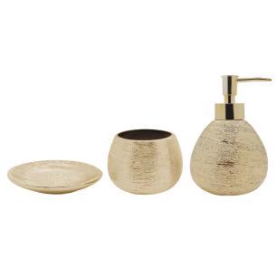 Conjunto 3 Peças Banheiro Lunar Dourado Bh1779d Mimo