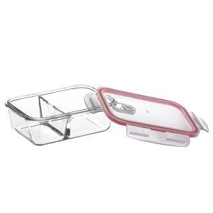 Kit 2 Potes Conjunto Marmita de Vidro Com Divisória Mantimento Hermético Tampa Click Glass 1010ml