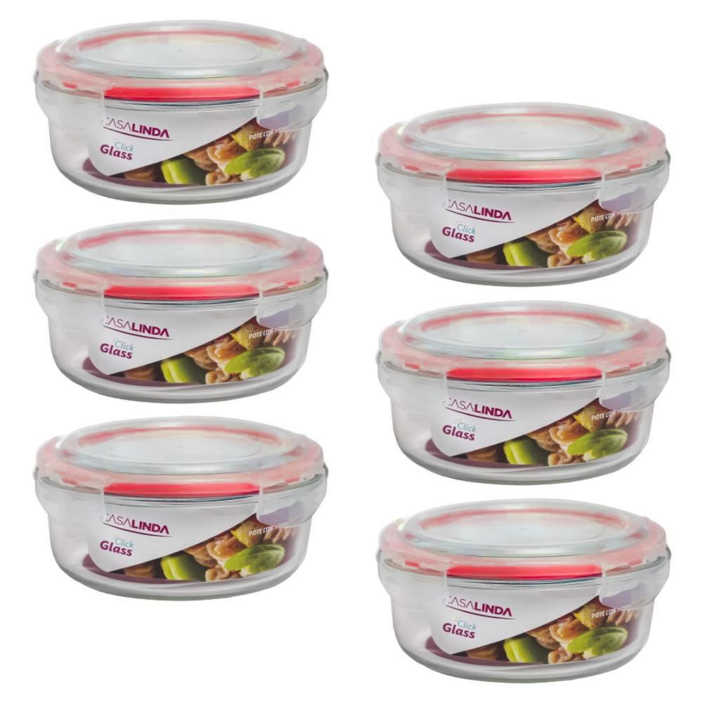 Kit 6 Potes de Vidro Borossilicato Tampa com Travas Hermética Redondo Marmita Forno Freezer 620ml