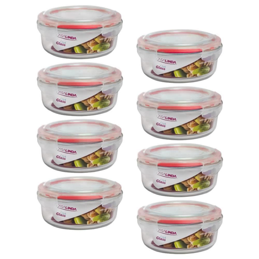 Kit 8 Potes de Vidro Borossilicato Tampa Hermética com Travas Redondo Marmita Forno Freezer 950ml
