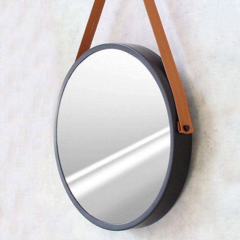 Espelho Modelo Adnet 50cm com Acabamento Preto e Alça Caramelo - HTADNET-50
