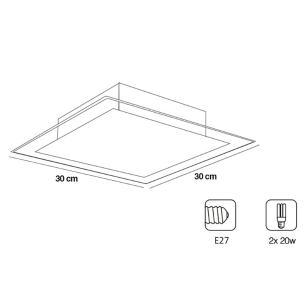Plafon De Sobrepor Vidro Branco Para 2 Lâmpadas
