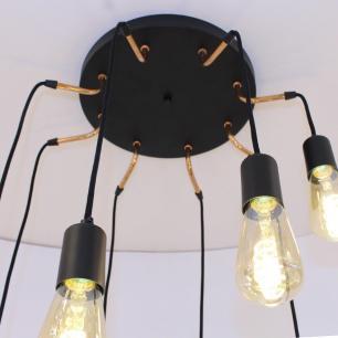 Pendente Spider Preto e Cobre para 8 Lâmpadas E27