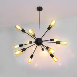 Luminária Pendente Sputnik Preta com 12 Lâmpadas