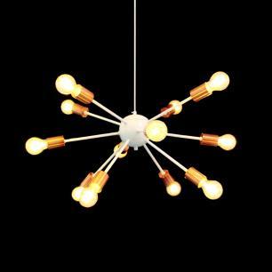 Pendente Sputnik Branco e Cobre p/ 12 Lâmpadas E27