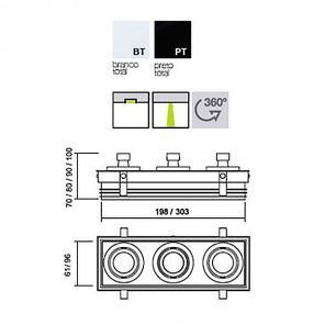 Embutido No Frame Branco Retangular para 3 GU10