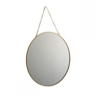 Espelho de Parede em Metal Dourado 29cm