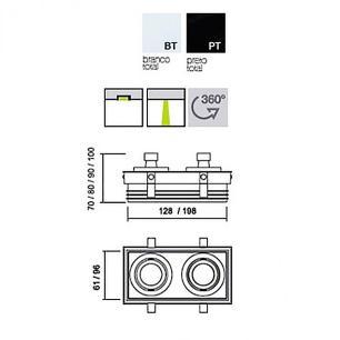 Embutido No Frame Branco para 2 PAR16 - IN60322-BT