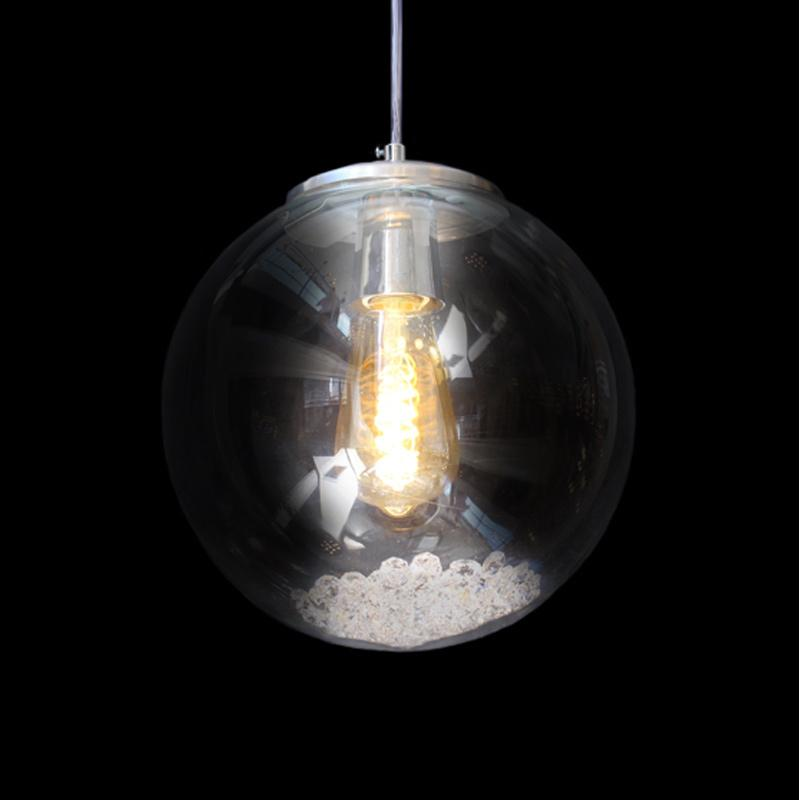 Lustre Globo de Vidro Dome com Cristais para 1*E27