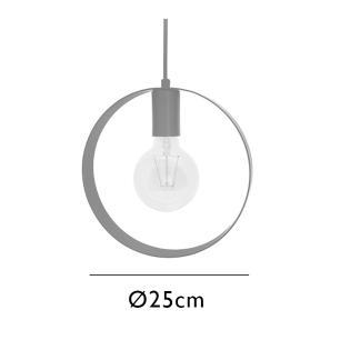 Pendente Ring 25cm Preto para 1 Lâmpada E27
