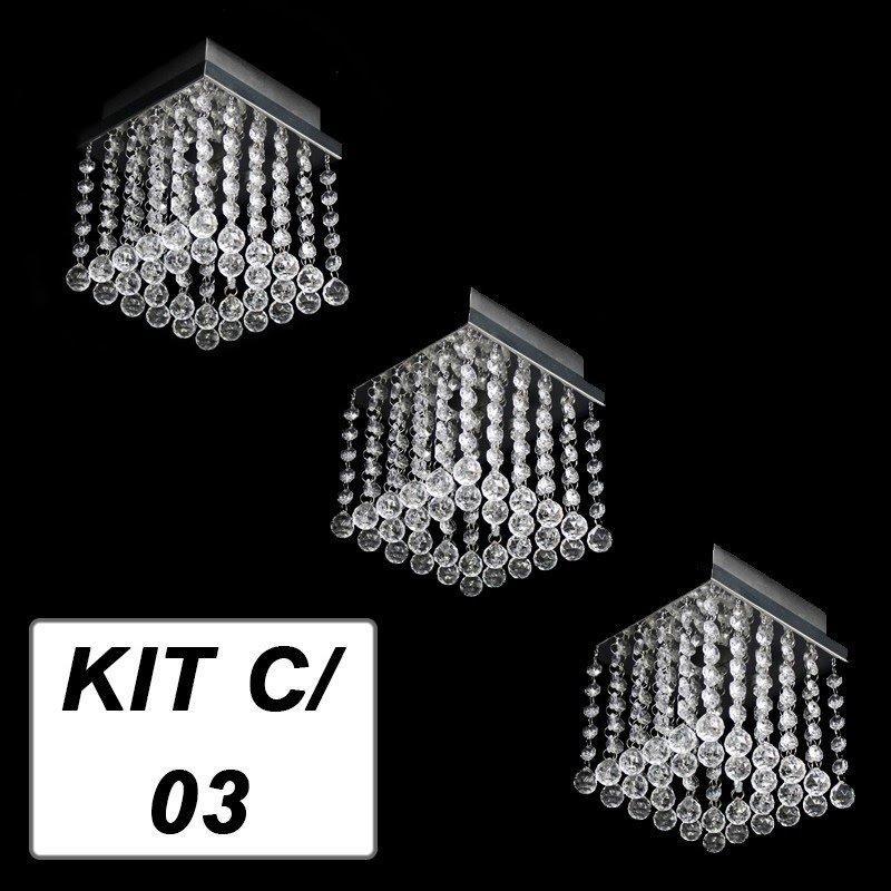 Kit c/ 3 Lustres de Acrílico Quadrado Osaka Mini