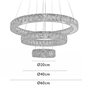 Lustre Pendente Anel Alliance em Cristal com LED
