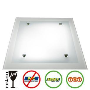 Plafon Quadrado 40x40cm Vidro Branco - Hunter