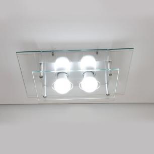 Plafon Vidro Duplo Transparente Living para 2 E27