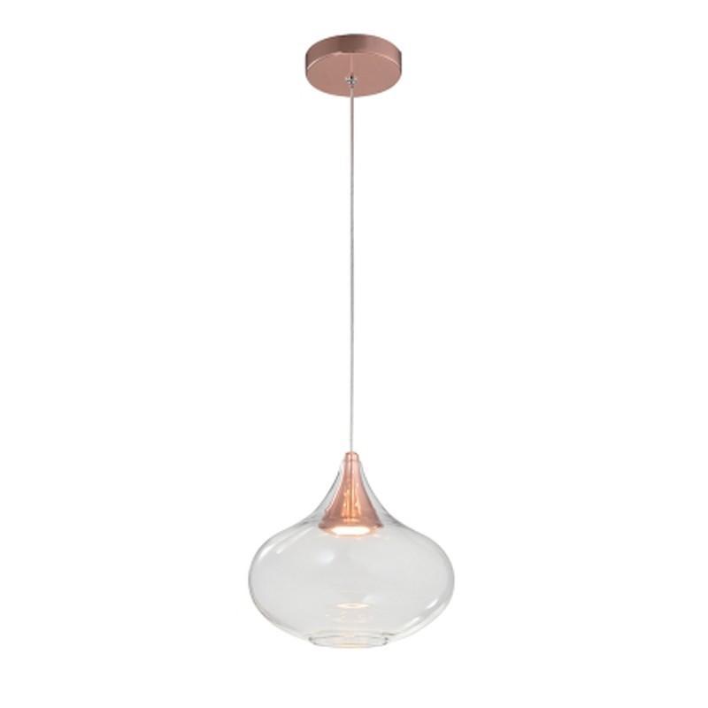 Pendente Khoi Cobre e Transparente com LED 5w