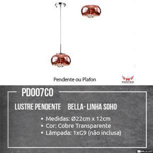 Pendente Soho Cobre Translucido 1xG9 Bella PD007CO