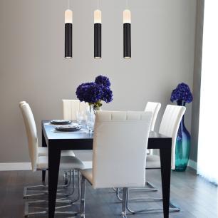Pendente com 3 Tubos Preto LED Branco Quente 10W