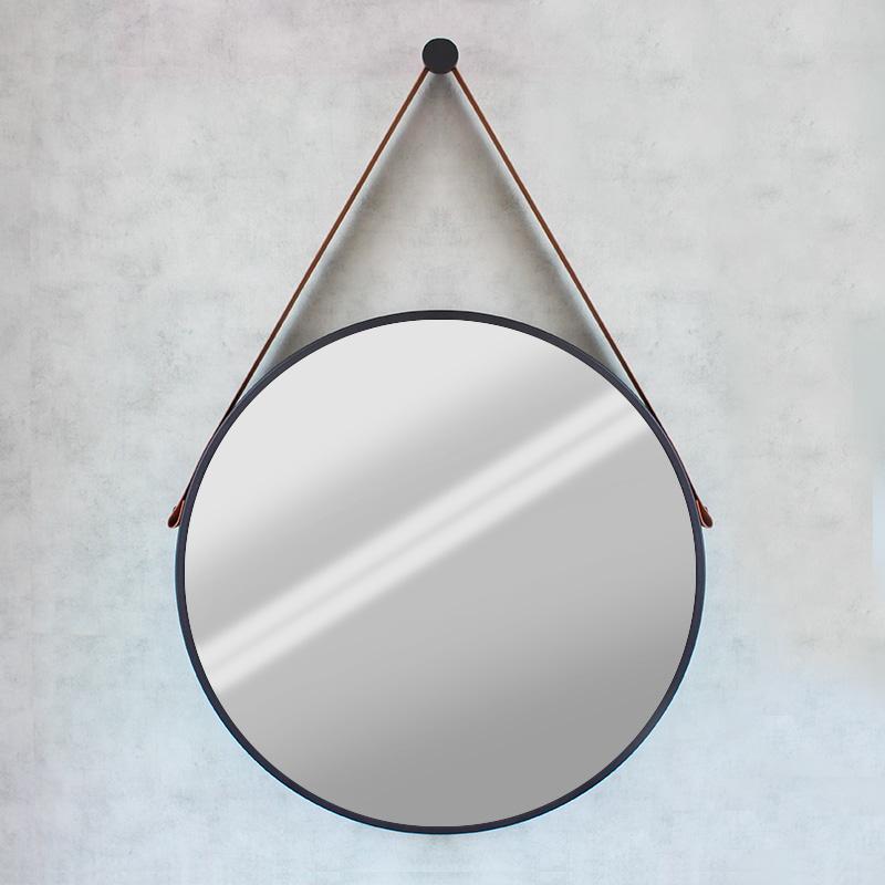 Espelho Modelo Adnet 60cm Preto e Alça Caramelo
