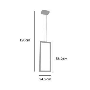 Pendente Retangular Montaggio Preto LED Integrado