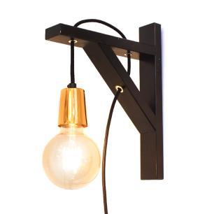 Luminária de Parede Arandela Preta Fio Tecido E27