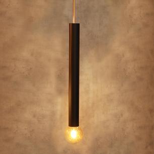 Pendente Tubo Preto 70cm Detalhe cor Cobre E27