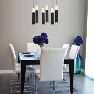 Pendente com 6 Tubos Preto LED Branco Quente 10W