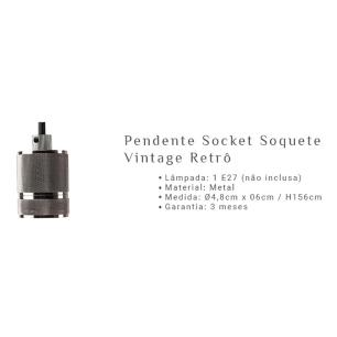 3 Pendentes Socket Vintage Retrô Cobre para 1*E27