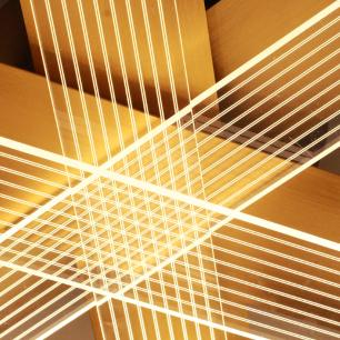 Plafon Dourado com LED 30w Branco Quente EDY12270