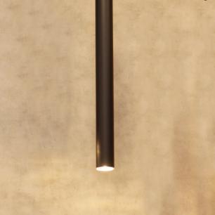 Pendente Tubo Preto 70cm Detalhe cor Cobre GU10