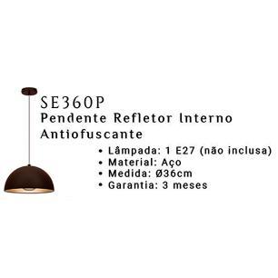 Pendente Preto e Prata para 1 lâmpada E27 - SE360P