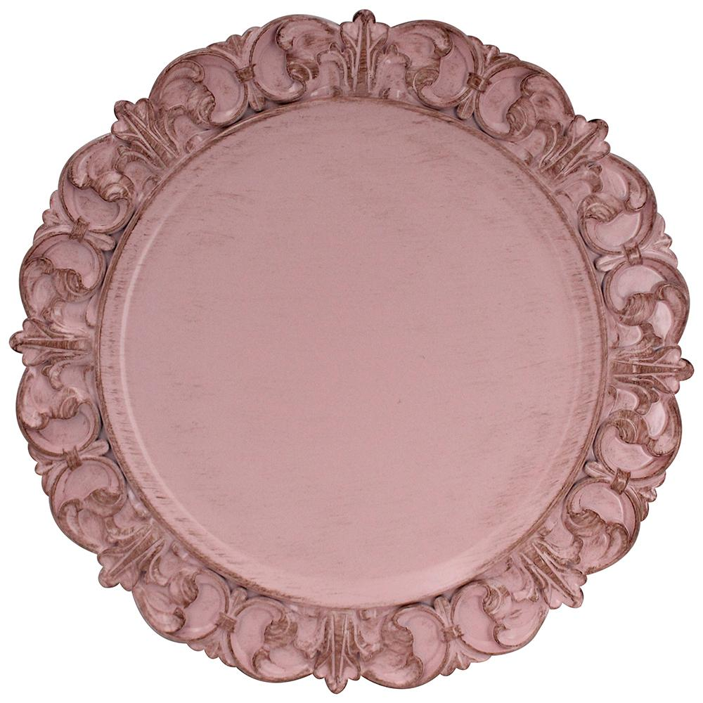 Sousplat arabesco em plastico 35cm cor rosa l'hermitage