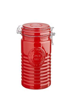 Pote de vidro tampa hermetica velvety 1l vermelho haüskraft