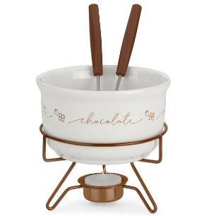 Conjunto para fondue chocolate em porcelana forma