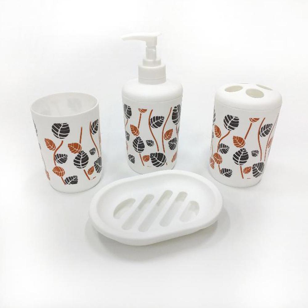 Kit banheiro em plástico 4 peças estampas sortidas