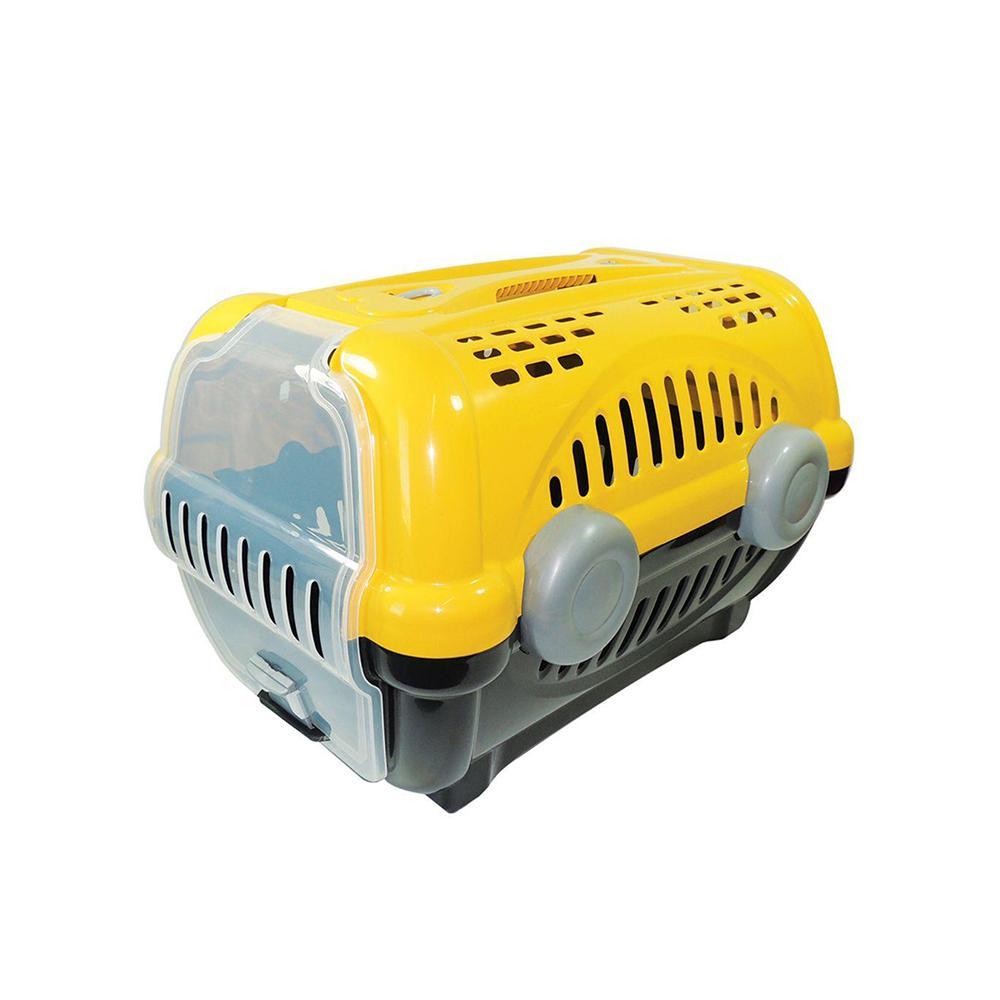 Caixa de transporte pet luxo amarela N3 - Furacão Pet