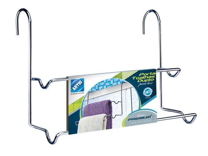 Porta toalha duplo premium em aço cromado - Arthi