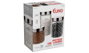 Conjunto de potes de vidro com tampa inox rattan 3 peças - Euro Home